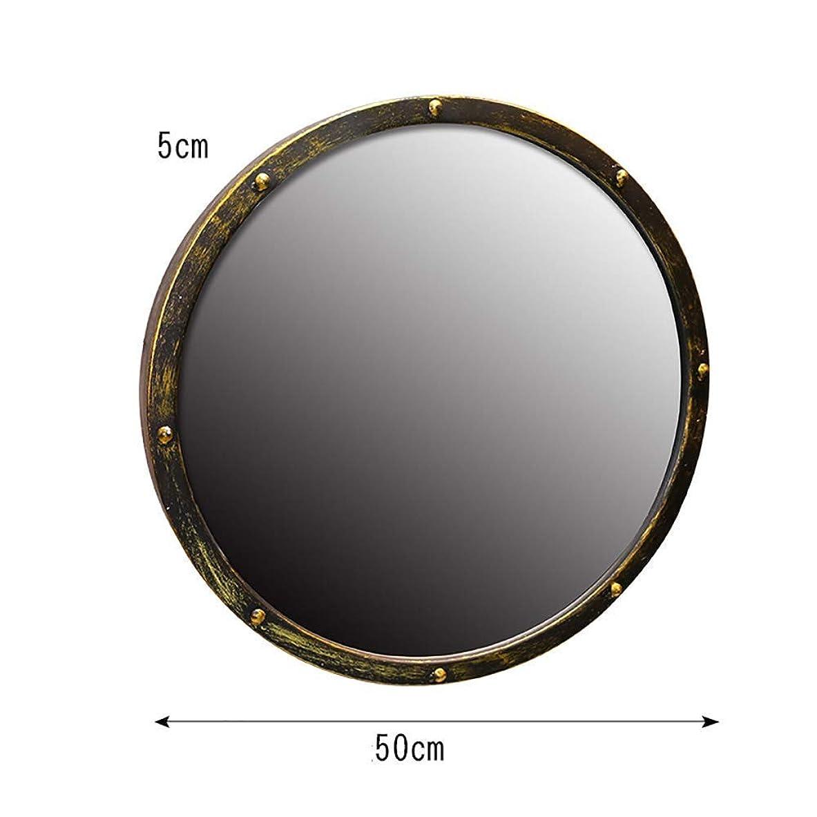 にもかかわらず形成とてもShiSyan ミラー 中国の芸術のバスルームの鏡ラウンドミラー、錬鉄製のレトロなバスルームの鏡、風に工業用ミラーぶら下げ インテリア