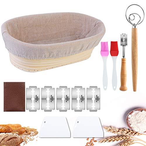 Litthing Proofing Basket La Cesta de Fermentación Ideal para la Masa de Pan Hecha de Ratán Natural con Raspador de Pan +Cepillo de Silicona+Herramienta de Cuchilla de Pan