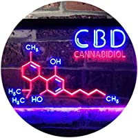 CBD Shop Open Welcome Dual LED看板 ネオンプレート サイン 標識 Blue & Red 400 x 300 mm st6s43-i3124-br
