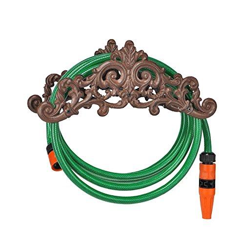 COM-FOUR® tuinslanghouder van gietijzer in antiek design - slanghouder voor in de tuin - wandhouder voor de tuinslang - 35,5 x 14 x 15,5cm (01 delig - slanghouder ijzer)