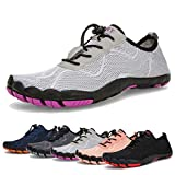 Water Shoes for Men and Women Barefoot Quick-Dry Aqua Sock Outdoor Athletic Sport Shoes for Kayaking, Boating, Hiking, Surfing, Walking (A-Light Gray, 39)