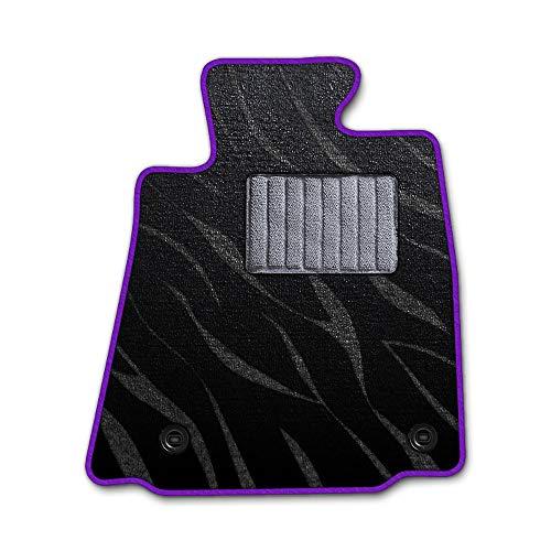 DAD ギャルソン D.A.D エグゼクティブ フロアマット NISSAN ( ニッサン ) PINO ピノHC24S 1台分 GARSON プレステージデザインブラック/オーバーロック(ふちどり)カラー : パープル/刺繍 : 無し/ヒールパッドグレー
