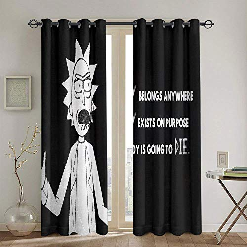Cortinas para sala de estar Rick and Morty para dormitorio de niñas cortina impermeable de ventana de 139,7 x 114,3 cm