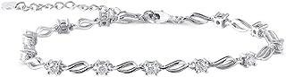 Platinum Plated Silver 1ct 3mm H-I Color Moissanite Bracelet for Women 18CM+5CM Length Extend Chain