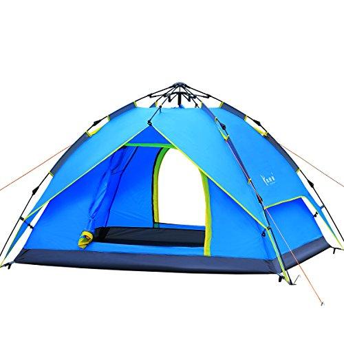 Qisan Canopée Hydraulique Dôme Tente pour Camping Automatique Tentes Hydrauliques Imperméables 3-4 Personnes Canopy Facile à Installer Et Paquet Bleu