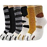 Jeasona Cat Claw Socks Fluffy Socks Women Bed Socks Fleece Fuzzy Cosy Warm Slipper Socks for Ladies Winter Multipack Gifts for Women (Cat Claw, 6)