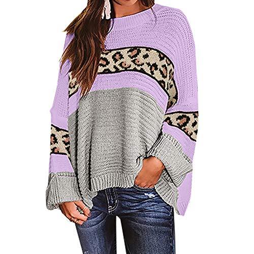 YANFANG Suéter de Manga Larga con Cuello Redondo Suelto y Estampado de Leopardo Casual para Mujer Casual Talla Grande, Purple,M