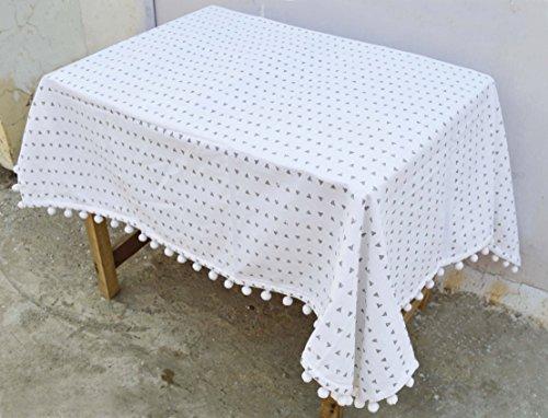 VLiving Aztec Nappe, Triangle d'impression, gris et blanc, 100% coton, Cabana, Pompon, dentelle Tailles disponibles, Coton, Gris et blanc, 54x54