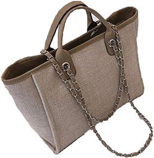 Large Shoulder Bag Women Travel Bags Leather Pu canvas Bag Female Luxury Handbags,Brown,S