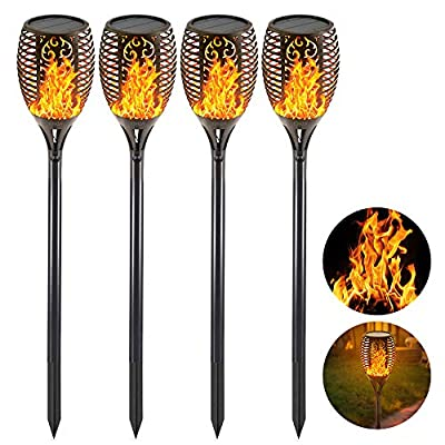 EOYIZW Solar Tiki Torches with Flickering Flame, 4 Pack Premium 99 LEDs Solar Flame Torch -IP65 Waterproof Flame Solar Lights Outdoor Landscape Decorative Torch Lights for Driveway Yard Patio