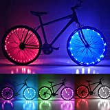 Solhice 2 Tire Pack Color Changing Bike Wheel Lights, 7 Colors in 1 Waterproof Bicycle LED Spoke Fairy String Lights, Cycling Lights for Kids Adults Night Riding, Battery Powered (Not Included)