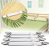 WADEO Bettlakenspanner Mit Metallclips Verstellbar Betttuchspanner Elastische Spannbettlakenhalter Für Bettlaken Matratze 8 Stück - 6