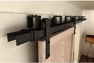 Winsoon 4FT-16FT Metal Sliding Bypass Barn Wood Door Hardware Kit System Bending Design Wall Mount Bracket Fit Double Wooden Doors New Style (4FT)