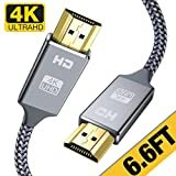 4K HDMI Cable 6.6 ft,Capshi High Speed 18Gbps HDMI 2.0 Cable,4K, 3D, 2160P, 1080P, Ethernet - 28AWG Braided HDMI Cord - Audio Return(ARC) Compatible UHD TV, Blu-ray, X-Box, PS4, PS3, PC