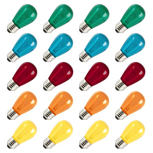 Bulbs 11 Watt Warm Replacement Incandescent Glass Light Bulbs with E26 Medium Base for Indoor and Outdoor Commercial Grade Outdoor Patio Vintage String Lights (Multi-Colored)