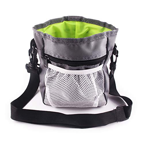 Dog Treat Pouch, Portable Dog Training Bag with Belt Clip, Animal Walking Snack Container Best Hiking Toys Pack Dispenser Carries, Multi-Wear (Grey)