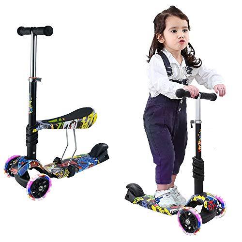 Arkmiido Kinder Roller Scooter 2 in 1 mit Abnehmbarem verstellbarem Sitz, LED große Räder, Höheverstellbare Lenker,Tretroller für Jungen und Mädchen ab 2 Jahre(Graffiti)