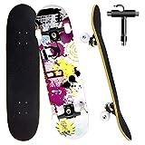 Skateboard per Principiante, 80x20 cm Skateboard Completo in Legno per Bambino Adolescenti Adulto, 7 Strati di Acero Doppio Kick Deck Concavo Trick Cruiser con lo strumento T Tutto in Uno (bianca)