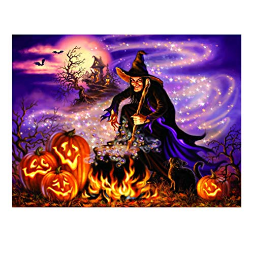 Qinday Halloween Decorations Jigsaw Puzzle 1000 Pieces for Adults, Halloween Jigsaw Puzzle 1000 Pieces Mysterious Witch Pumpkin Family-Friendly Activity Challenge Halloween Best Gift,28 x 20 Inch