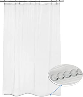 """AmazerBath 1 Pack Thin Shower Curtain Liners, 72"""" W x 78"""" H PEVA 3G Shower Curtains with Heavy Duty Beads and 12 Rust-Resistant Grommet Holes, Waterproof Odorless Plastic Liners - Clear"""