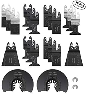 Oscillating Multi Tool Blades for Wood, Metal and Plastic – 22 Piece Set – Includes 2 C-Clip Adapters – Quick Release Oscillating Saw Blades by Valiant (22 Pack)