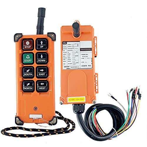 SUDEG 12-72V Wireless Crane Remote Control Transmitter and Receiver 8 Buttons Industrial Channel Electric Lift Hoist Radio Switch Receiver for Single-Hook, Single-Speed Electric Hoist