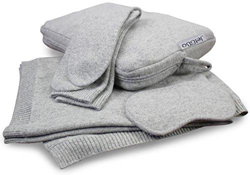 Jet&Bo 100% Pure Cashmere Travel Set: Blanket, Eye Mask, Socks, Carry/Pillow Case Gray