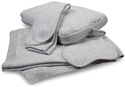 Jet&Bo 100% Pure Cashmere Travel Set: Blanket, Eye Mask, Socks, Carry/Pillow Case Gray