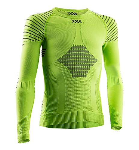 X-Bionic Invent 4.0 Round Neck Long Sleeves, Strato Base Camicia Funzionale Unisex Bambini, Green Lime/Black, L
