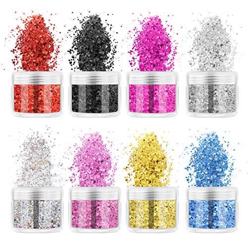 Supvox Glitter Glitter Glitter Glitter olografici per viso, corpo, occhi, capelli, unghie, festival, decorazioni fai da te, 8 confezioni