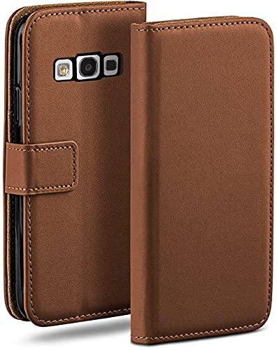 moex Klapphülle kompatibel mit Samsung Galaxy S3 / S3 Neo Hülle klappbar, Handyhülle mit Kartenfach, 360 Grad Flip Hülle, Vegan Leder Handytasche, Sattelbraun