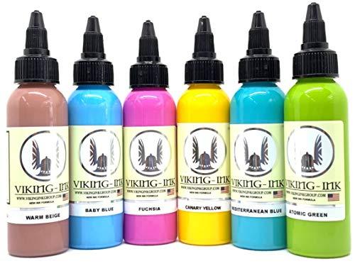 VIKING INK - Tätowierung Tinte - KIT PASTEL 0.5oz (15ml) - 6 Units - Die besten Farben und Schwarztöne - Vegan