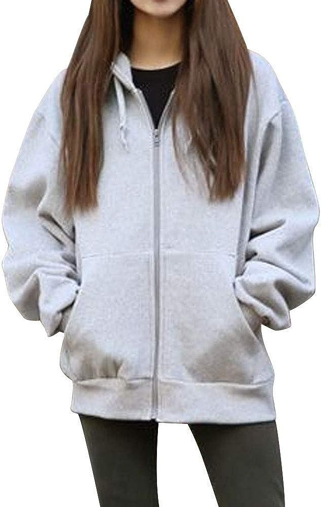 WUAI-Women Hoodie Jackets,Stylish Active Slim Fit Zip up Long Sleeve Hoodie Sweatshirt Pullover Tops