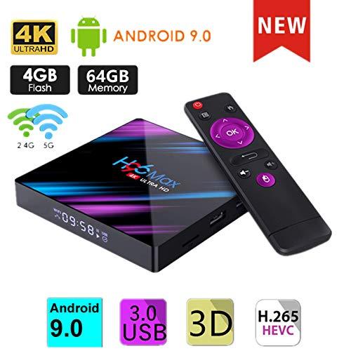Android TV Box de Version Android 9.0, 【4G+64G】 TV Box de Bluetooth 4.0, H96 Max RK3318 Quad-Core 64bit Cortex-A53, USB 3.0 Box Android TV LAN100M Wi-FI 2.4G/5G TV Box 4K Android TV
