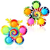 GOHEYI Pop Fidget Spinner Toys 2 Pack, Tie-Dyed Fidget Pop Spinner Toy,Party Favors Simple Push Bubbles Fidget Spinner for Kids Reducing Boredom, ADHD, Anxiety