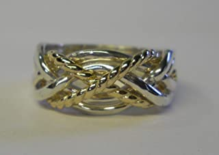 Ladies 6 Band Puzzle Ring with 2 Twisted Bands Style 6TW2X
