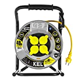 KEL-ELECTRIC - Avvolgicavo in metallo con 40 m di cavo in gomma NEOPREN GUMMI giallo, 3 x 1,5 mm2, 230 V/16 A, cavo di prolunga con 4 contatti di protezione IP44