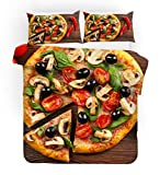 F FANAIJIA Pizza Duvet Cover Set Food Print Bedding Sets Queen Size Luxury Hamburger Bed Set Twin/Full/King Size (NO Comforter) (E,Full)