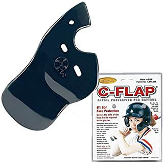 Baseball C-Flap Batter's Helmet Face Protection Guard Attachment (5 Colors for Left & Right Handed Hitters) (Navy, Left Handed Hitter)