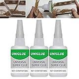 Uniglue Universal-Superkleber, Uniglue Mighty Universal-Kleber, extra starker Superkleber für Kunststoff-Keramikharz-Metallglas, Mehrzweck-Schnelltrocknung (150ml)