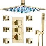 AYIVG Bathroom Thermostatic LED 16 Inch Ceiling Rainfall Shower...