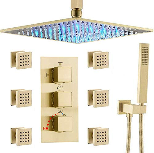 AYIVG Bathroom Thermostatic LED 16 Inch Ceiling Rainfall Shower System With 6 PCS Body Jets Mixer Set Brushed Gold