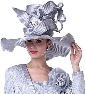 Kueeni Women Hats Church Hats for Wedding Mother of Bride Hats Silver