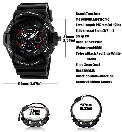 TONSHEN Sport Digital Watch for Men and Women,Analogue Quartz Fashion Electronic Dual Timezone Multifunction Waterproof LED Backlight Stopwatch 12H/24H Time 164FT Water Resistant Military Wristwatch