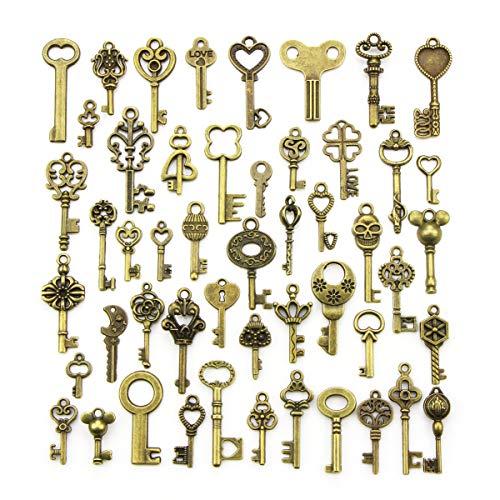 YMWALK Antique Bronze Keys Charm Pendants Set Random Shapes & Sizes Charms key Handmade Accessories for DIY Jewelry Making (50 Pcs)