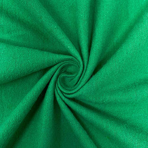 Cotton Flannel Fabric 45' Wide Soft Warm Comfy 10+ Colors by The Yard (Green, 1 Yard)