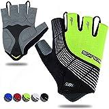 Souke Sports Cycling Bike Gloves Padded Half Finger Bicycle Gloves Shock-Absorbing Anti-Slip Breathable MTB Road Biking Gloves for Men/Women Green Medium