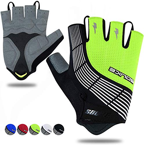 Souke Sports Cycling Bike Gloves Padded Half Finger Bicycle Gloves Shock-Absorbing Anti-Slip Breathable MTB Road Biking Gloves for Men/Women Green X-Large