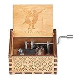 Silverbirdly Caja de música con manivela de madera La Land, mecanismo de 18 notas, caja de música tallada antigua, ideal para niños, regalos de amigos