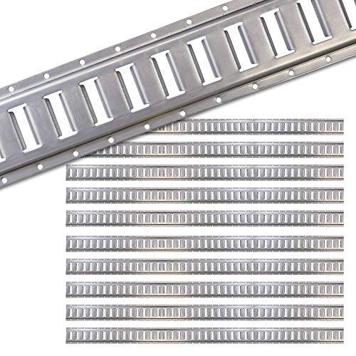 US Cargo Control Horizontal E Track - 5 Foot Length Cargo E Track - Galvanized Finish - 12 Gauge Steel - Easily Secure Cargo in an Enclosed Van Trailer - 10 Pack